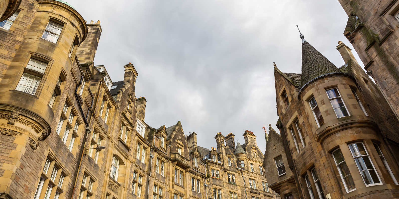 Tops of buildings on Cockburn Street in Edinburgh