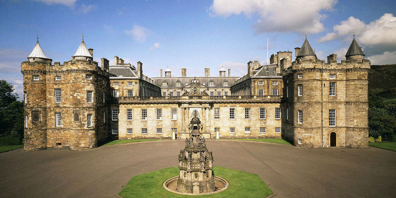 Exterior shot of Palace of Holyroodhouse in Edinburgh