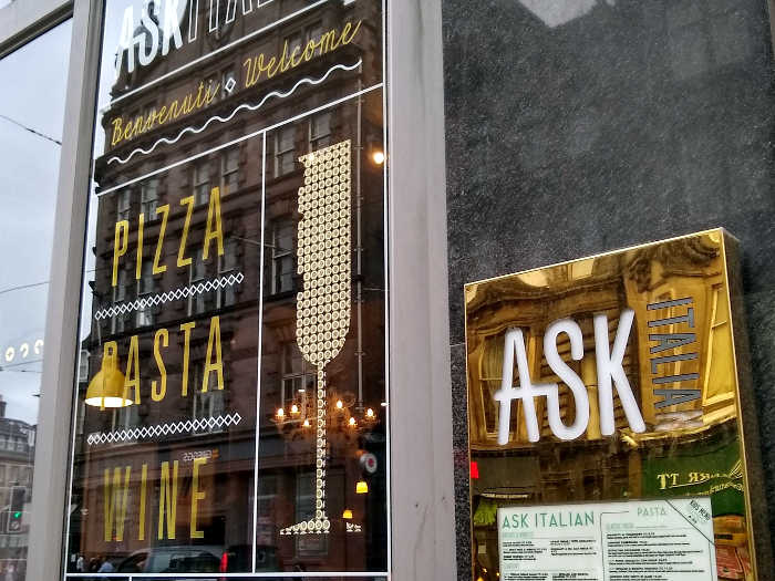 ASK Italian sign and menu