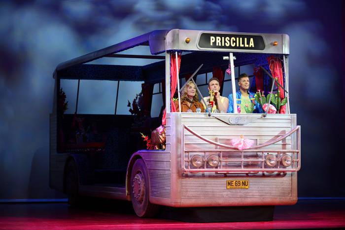 Cast of Priscilla Queen of the Desert in campervan