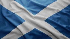 Fabric Scottish Saltire white cross on blue background