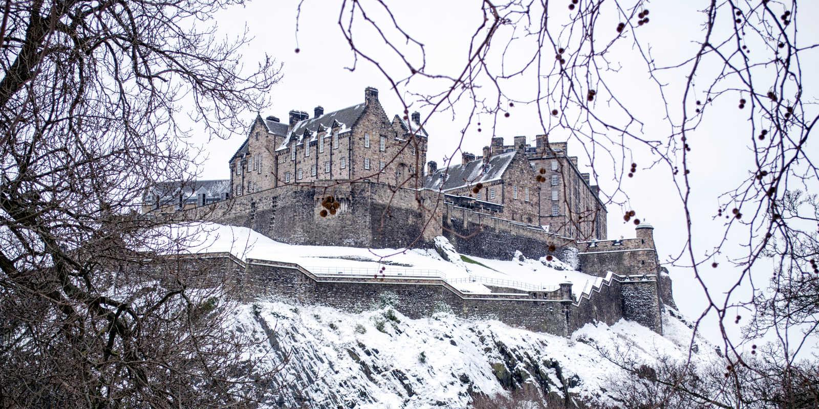 Edinburgh Castle on a snowy day
