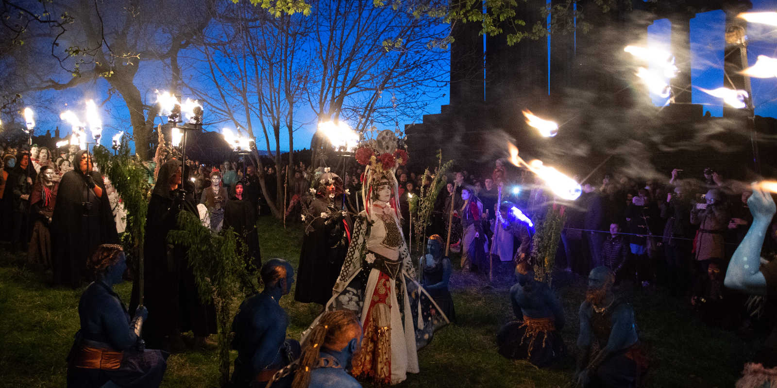 May Queen, Blue Men and other characters from Beltane Fire Festival