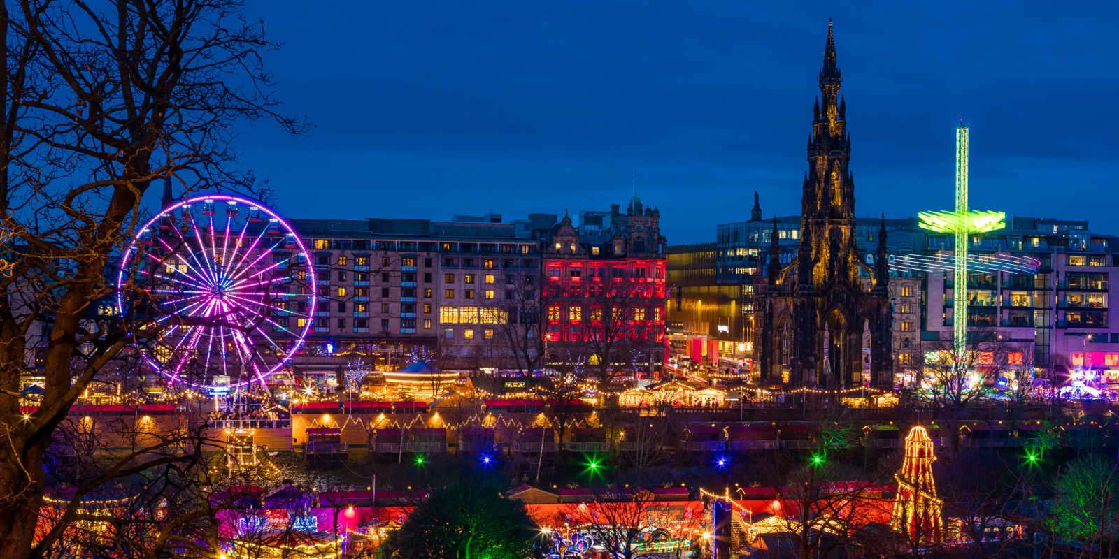 Colourful lights and attractions in Edinburgh at Christmas time