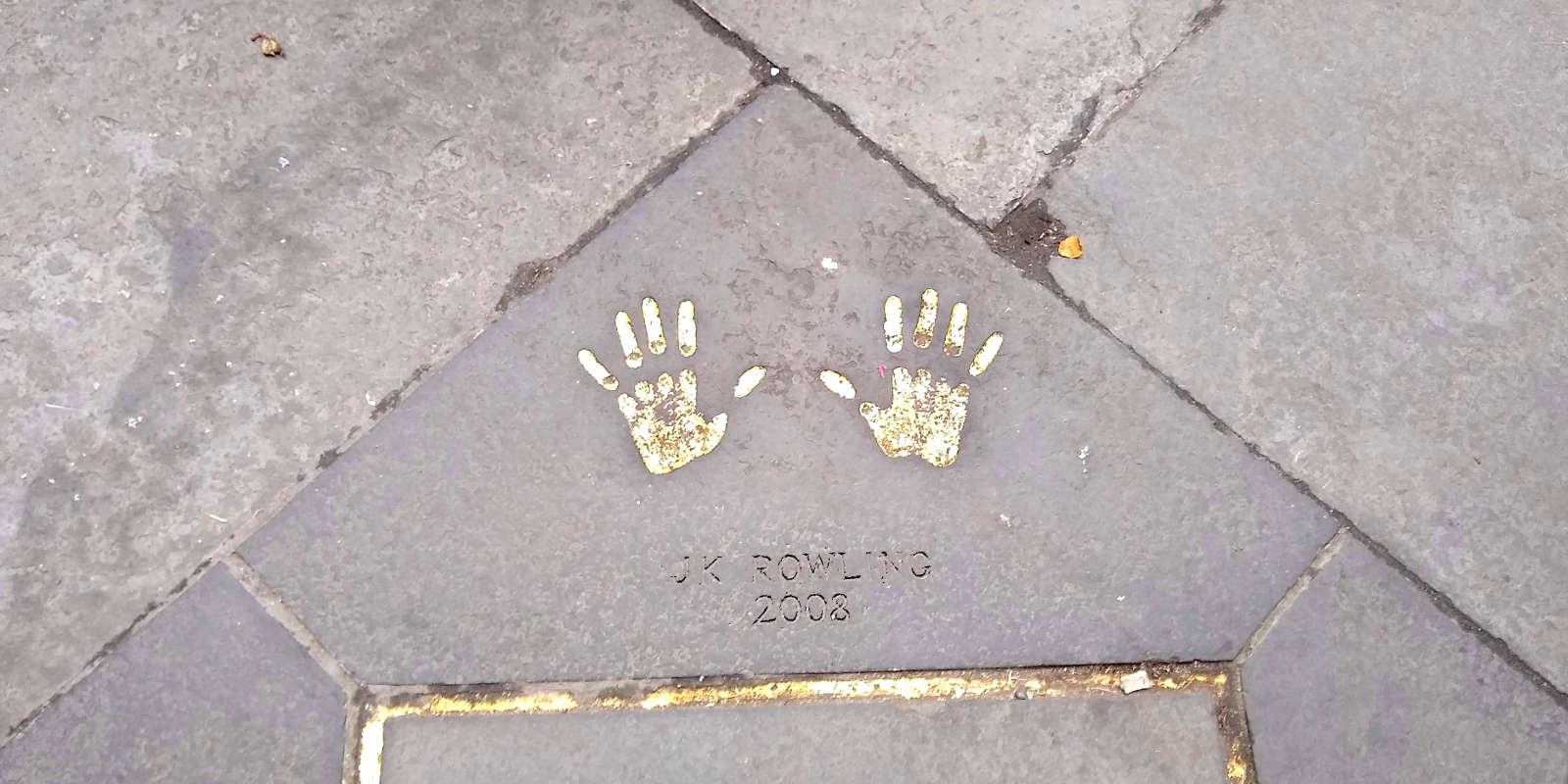 Golden handprints of JK Rowling outside Edinburgh City Chambers