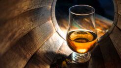 Glass of whisky inside a barrel