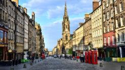 View down the Royal Mile cobbled street in Edinburgh