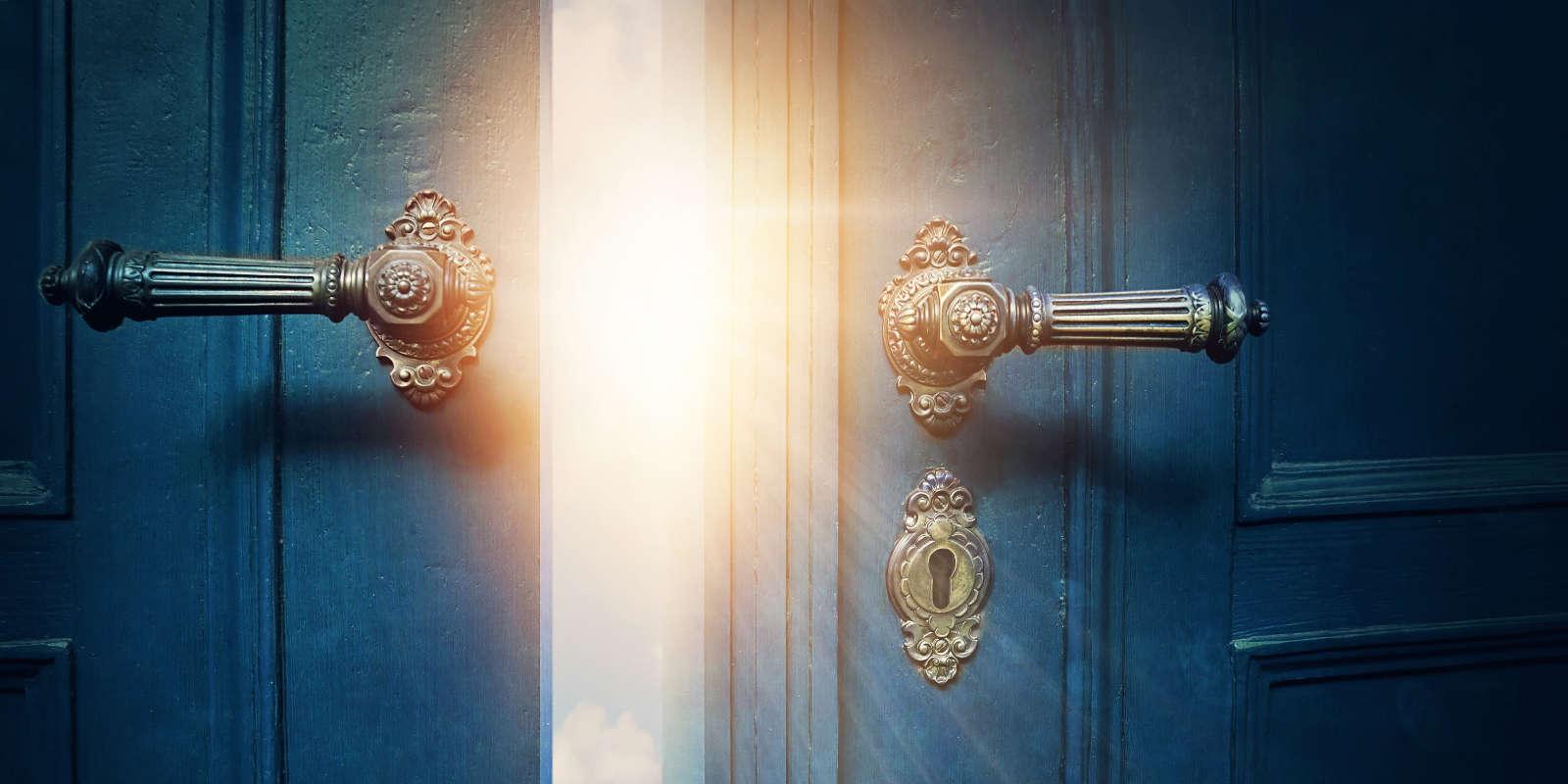 Blue doors opening