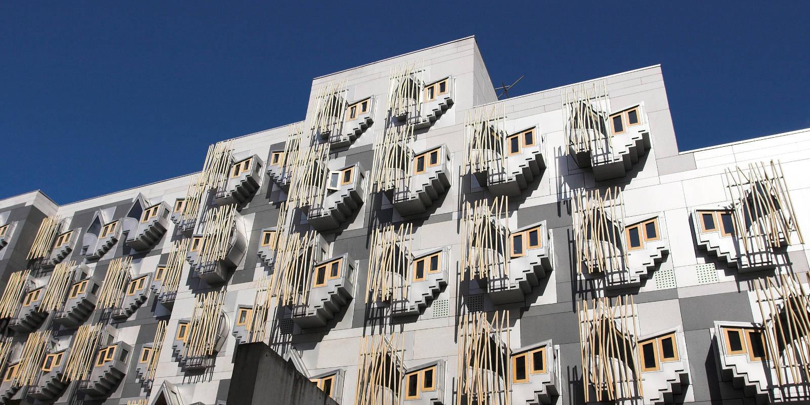 Close up of the Scottish Parliament Building in Edinburgh