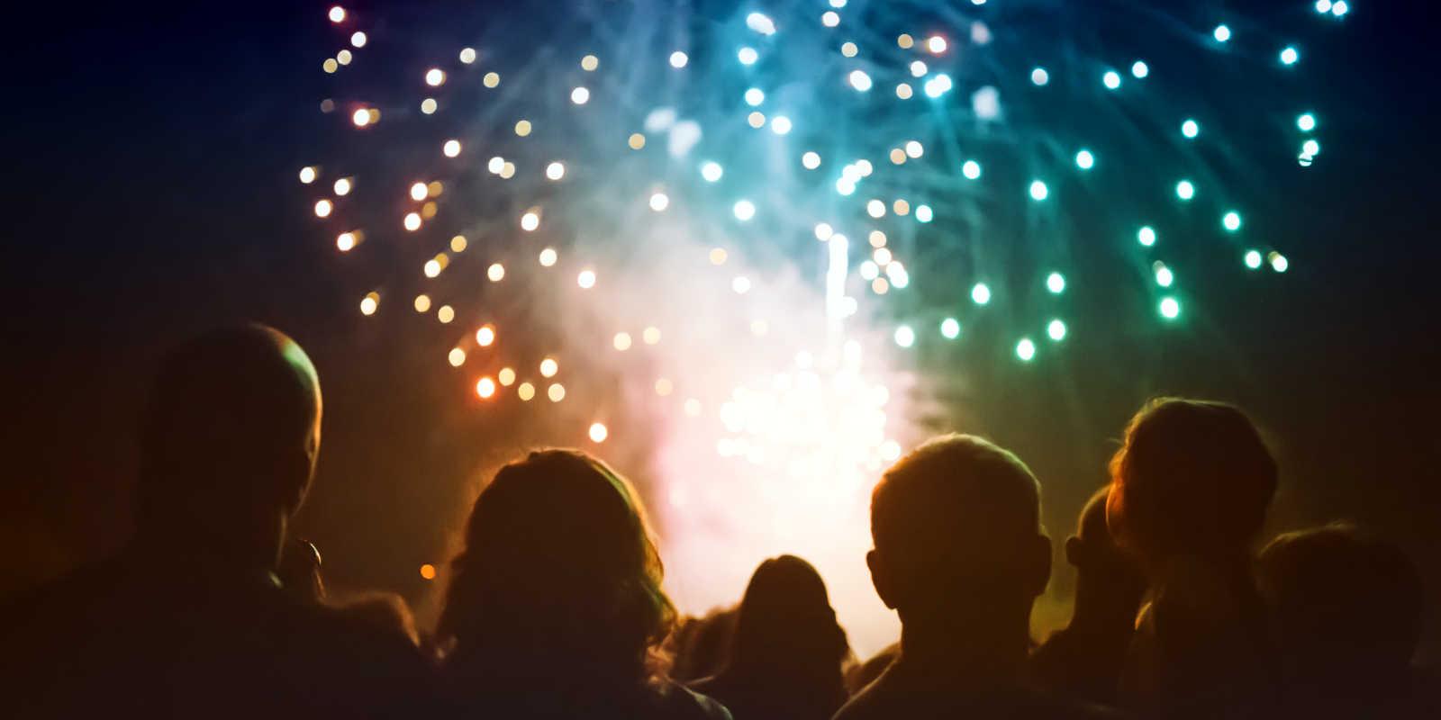 People watching fireworks on Bonfire Night