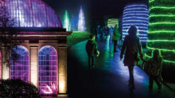 Royal Botanic Garden Edinburgh lit up at night