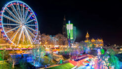 Christmas market and festive lights in Princes Street Gardens