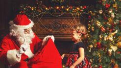 A little girl visiting Santa