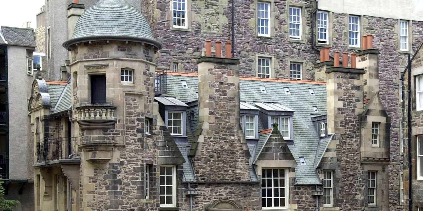Rooftops and chimneys of Writers Museum in Edinburgh