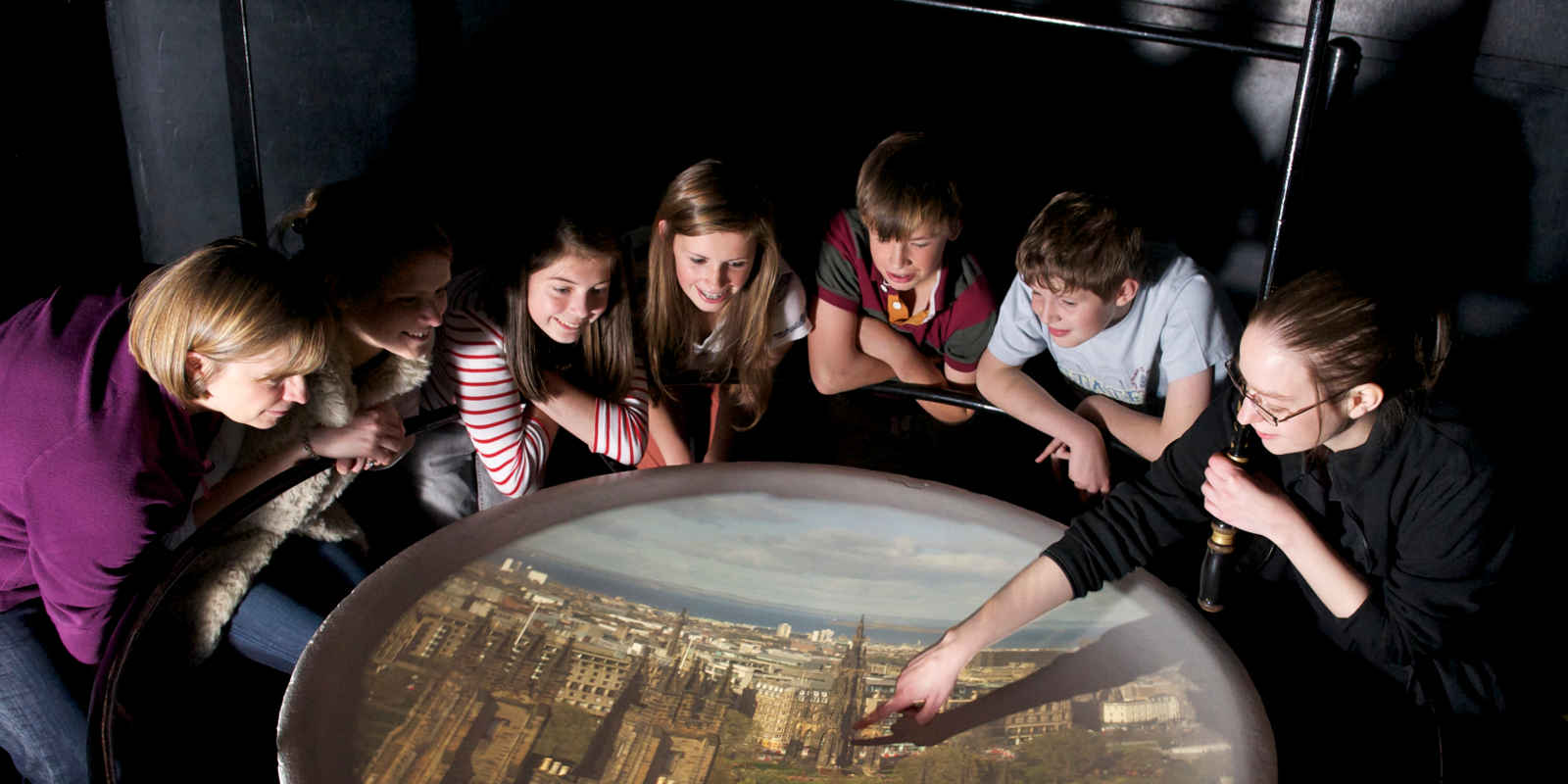 Group looking at live view of Edinburgh at the Camera Obscura Show