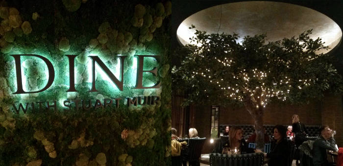Dine sign and tree with fairy lights