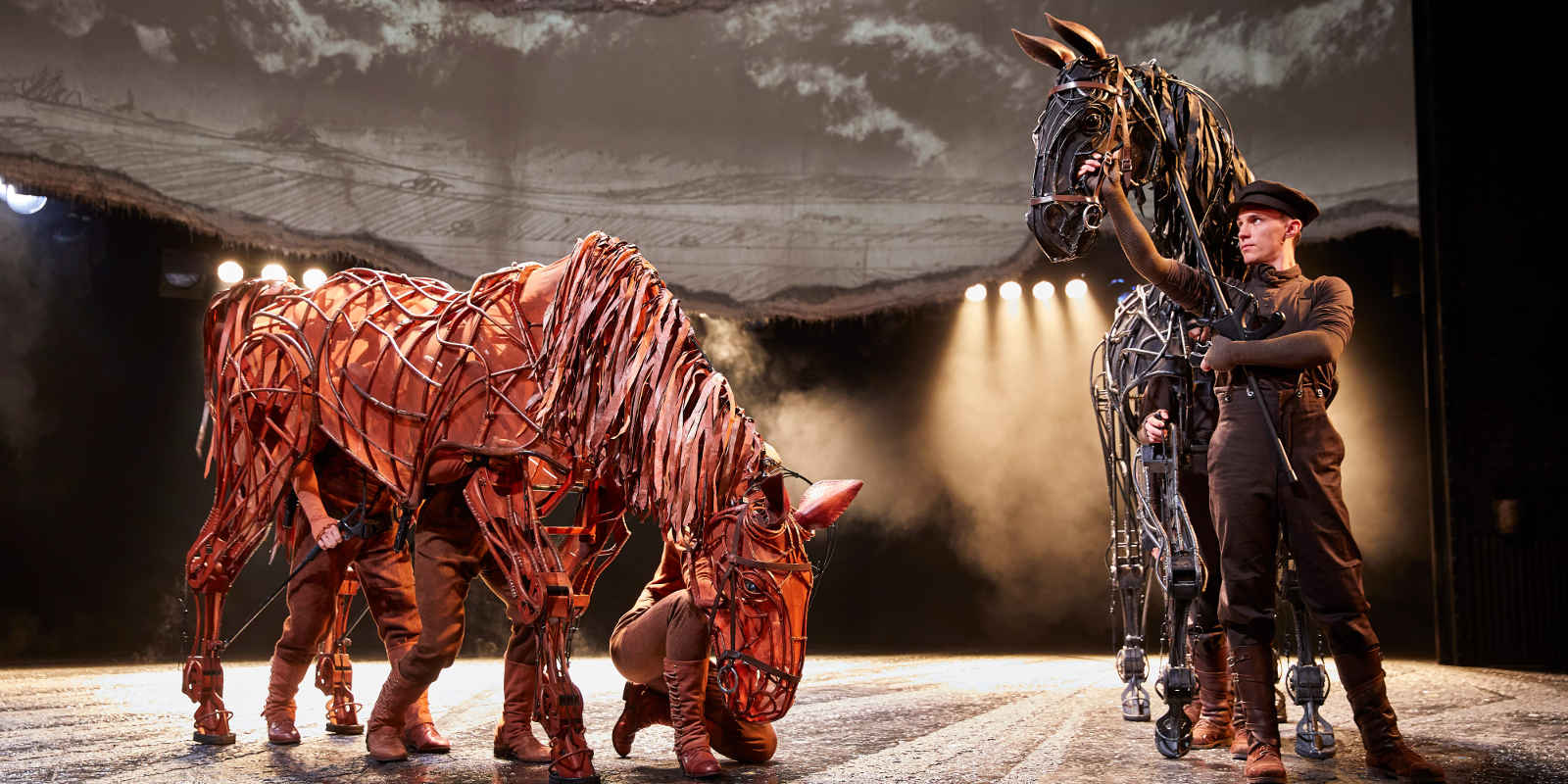 Horse puppets and their puppeteers on War Horse stage version
