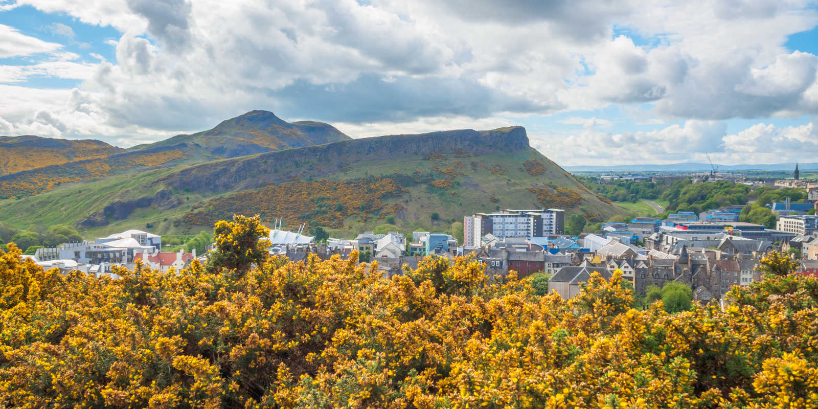View of the Crags and Arthurs Seat in spring