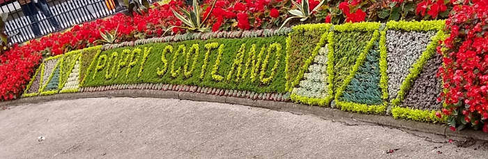 Poppy Scotland written in Edinburgh Floral Clock