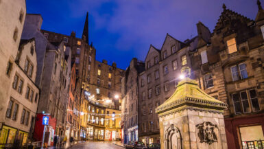 View up Victoria Street in Edinburgh at night