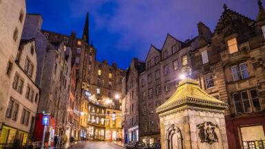 View up Victoria Street in Edinburgh at night