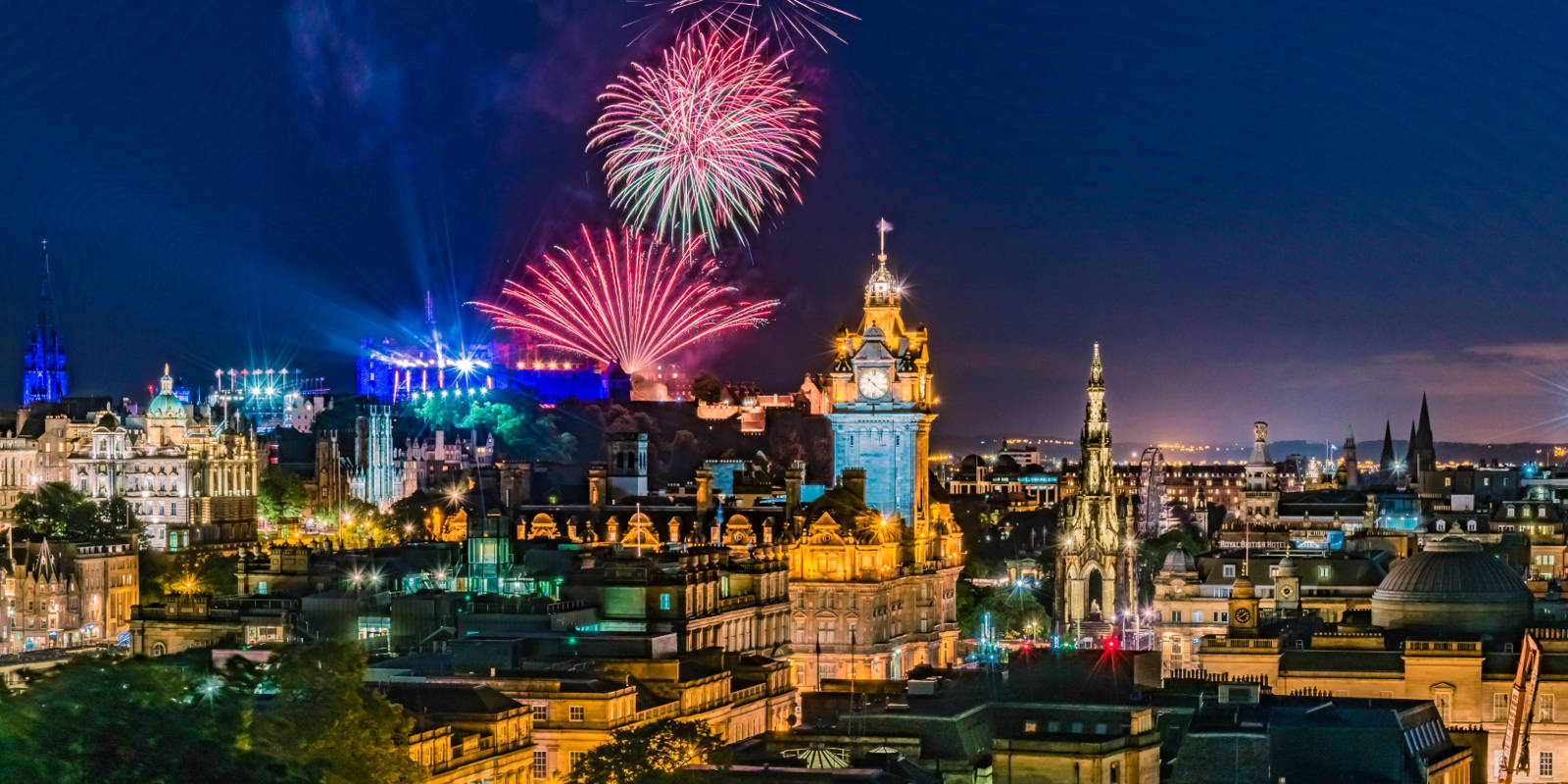 View of Edinburgh with fireworks above Castle
