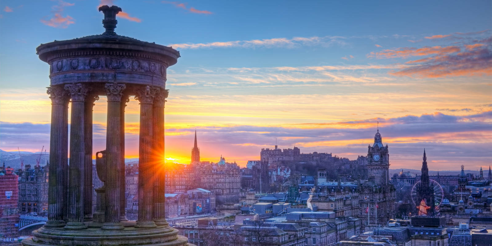 View of Edinburgh from Calton Hill at sunset