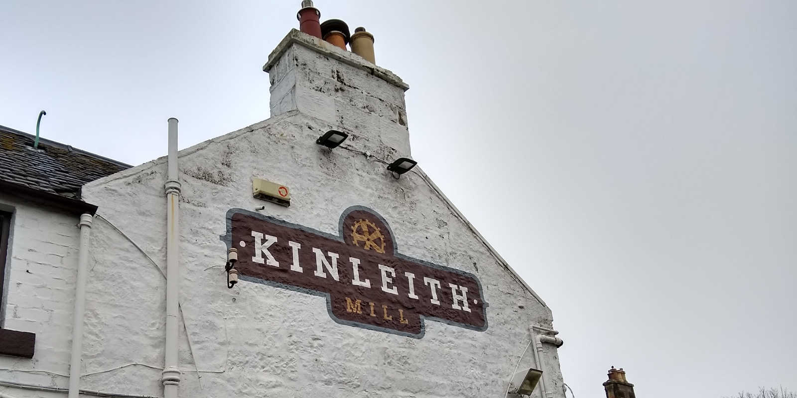 Kinleith Mill sign on outside wall of pub